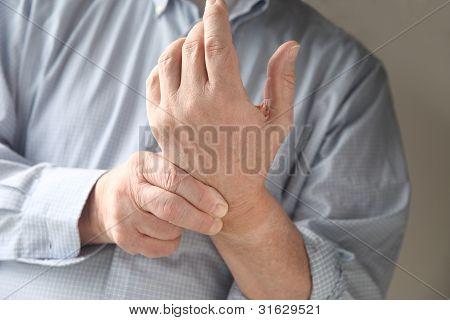 man has pain in wrist