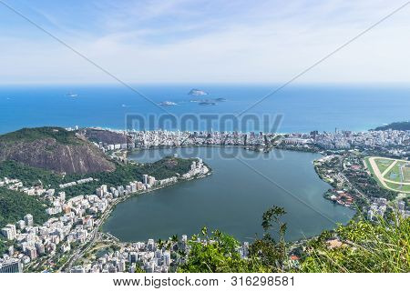 Rio De Janeiro. Brazil. View Of The City From Mount Corcovado. Corcovado Mountain Offers Magnificent