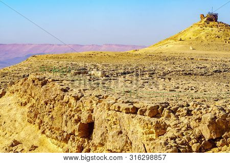 View Of Makhtesh (crater) Ramon With Camel Mount Lookout, In The Negev Desert, Southern Israel. It I