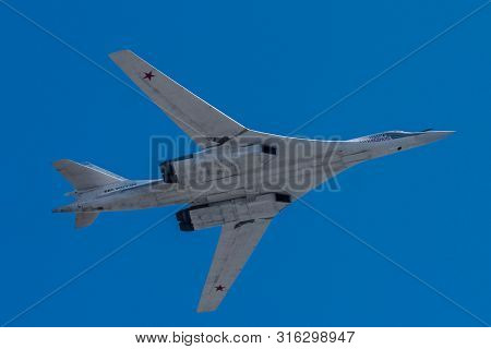Moscow, Russia - May 09, 2014: Tu-160 Supersonic Strategic Bomber With Variable Sweep Wing. Aviation