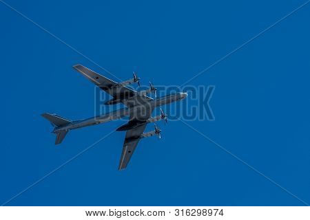 Moscow, Russia - May 09, 2014: Wtu-95 Soviet And Russian Turboprop Strategic Bomber, The Worlds Fast