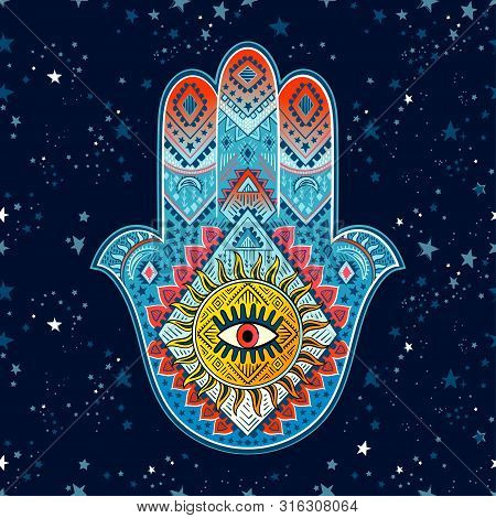 Hamsa Print Design. Aztec Towel, Yoga Mat. Vector Lace Henna Tattoo Style. Can Be Used For Textile