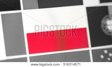 Poland National Flag Of Country. Poland Flag On The Display, A Digital Moire Effect. News Of Geograp