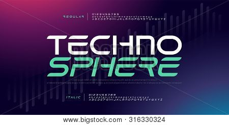 Techno Digital Modern Alphabet Fonts. Typography Electronic Technology Music Future Creative Font Re
