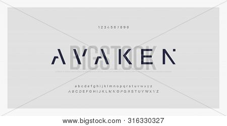 Abstract Minimal Modern Alphabet Fonts. Typography Technology Electronic Digital Music Future Creati