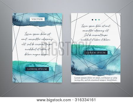 Set Vector Watercolor Backgrounds. Blue Brush Strokes.  Watercolor Geometric Templates For Flyer, Br