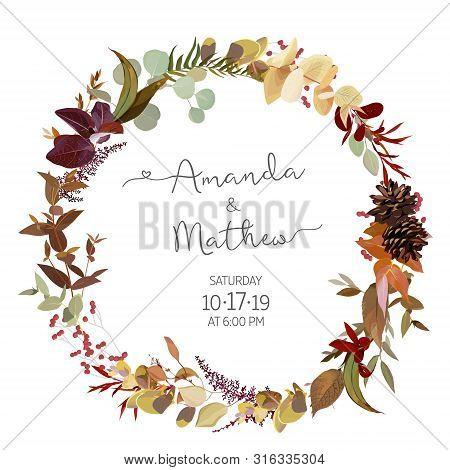Fall Herbs Selection Vector Design Round Invitation Frame. Rustic Boho Wedding Wreath. Watercolor Sa
