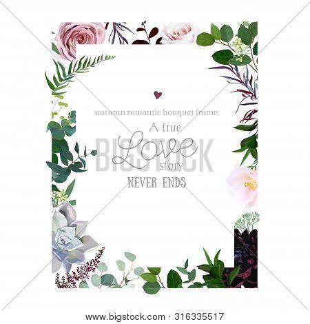 Dark Flowers, Dusty Pink Rose, Burgundy Dahlia, Camellia, Echeveria Succulent, Astilbe And Greenery