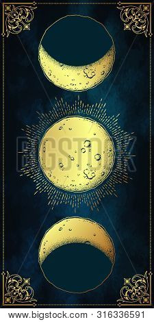 Antique Style Hand Drawn Line Art And Dot Work Moon Phases. Boho Chic Poster, Fabric, Altar Veil Or