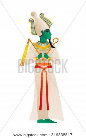 Ancient Egyptian God. Osiris Deity, Lord Of Dead And Rebirth With Atef Crown Green Skin. 3d Cartoon