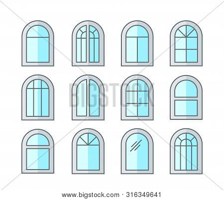 Arched & Arch Window. Casement & Awning Window Frames. Flat Line Icon Set. Vector Illustration. Isol