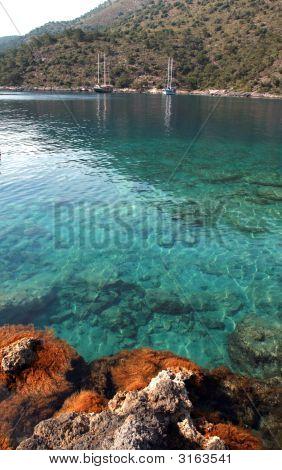 Saliboats At The Coast Of A Beautiful Bay