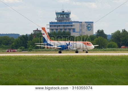Zhukovsky, Russia - July 20, 2017: Airplane Il-114 (91003) On The Runway Of The Zhukovsky Airport On