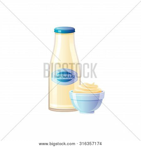 Mayonnaise Sauce. Mayo Sauce Bottle With Bowl. Food Icons With Text Logo Label Packaging, Mock Up. G