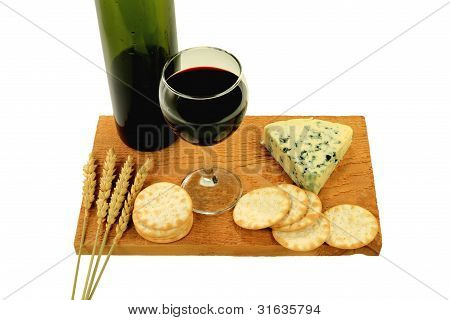 Wine, Blue Cheese And Water Crackers.