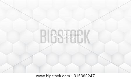 3d Vector Hexagons Technologic White Abstract Background. Sci-fi Hexagonal Blocks Structure Pattern