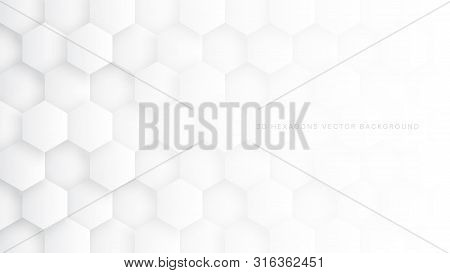 Technologic 3d Vector Hexagon Blocks White Abstract Background. Conceptual Sci-fi Hexagonal Structur