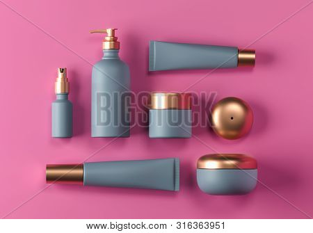 Cosmetic Mock Up Set. Cosmetic Packaging Bottles Jar And Tube. Make Up Blank Face Cream Tube, Spray.