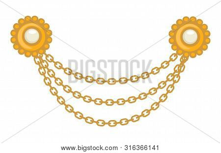 40s Gold Jewelry, Brooch And Chains, 1940s Accessory