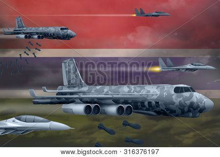 Gambia bomb air strike concept. Modern Gambia war airplanes bombing on flag background. 3d Illustration poster
