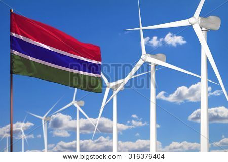 Gambia alternative energy, wind energy industrial concept with windmills and flag - alternative renewable energy industrial illustration, 3D illustration poster