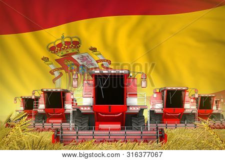 Industrial 3d Illustration Of Many Red Farming Combine Harvesters On Rural Field With Spain Flag Bac