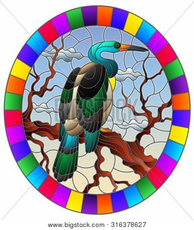 Illustration In Stained Glass Style With A Heron Bird Sitting On A Tree On A Background Of Swamp And