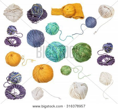 Skein Of Greenish Yellow Melange Yarn With Unwound Tail Isolated On White Background
