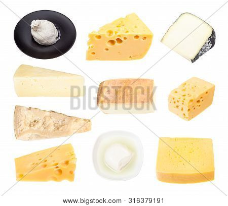 Set From Various Cheeses Isolated On White Background