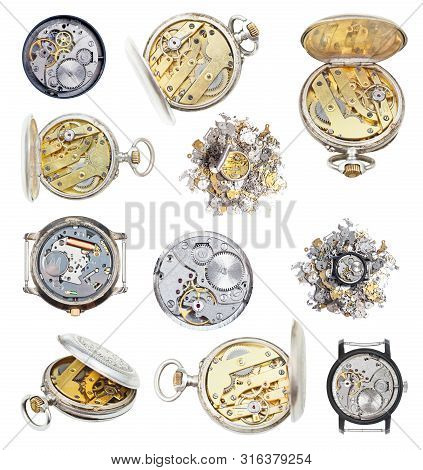 Collection From Vintage Wathes And Clock Parts Isolated On White Background