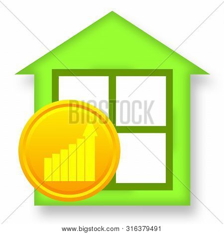Green House And Golden Coin With Business Growth Charts