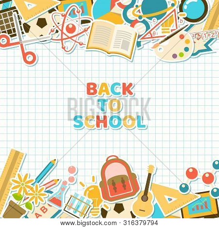 Back To School Background With Colorful Course And School Element Stickers In Flat Style On Grid Pap
