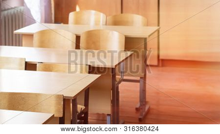 Empty School Class After Class. School Desks And Chairs,back To School.