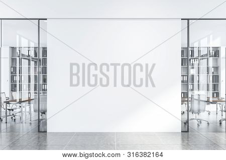 White Office Hall With Meeting Room, Mock Up