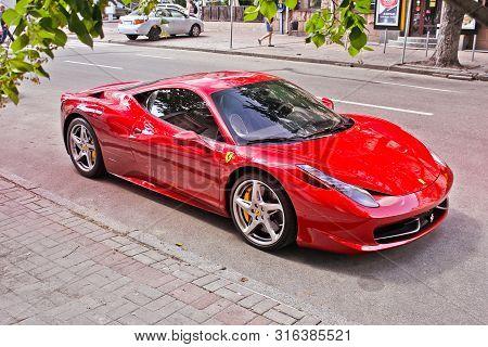 Kiev, Ukraine - June 10, 2013: Ferrari 458 Italia In The City. Red Ferrari