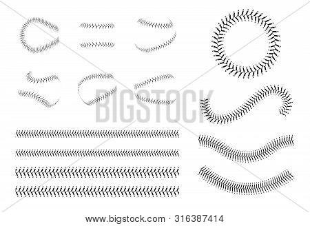 Set Of Baseball Lace Or Decorative Baseball Seams Brushes Vector Illustration.