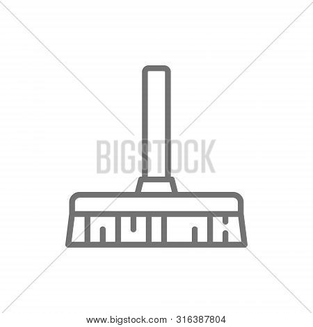 Broom, Professional Besom Line Icon. Isolated On White Background