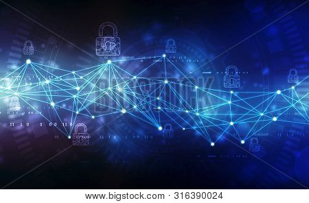 Closed Padlock On Digital Screen, Cyber Security Concept Background,security Concept Background. 2d