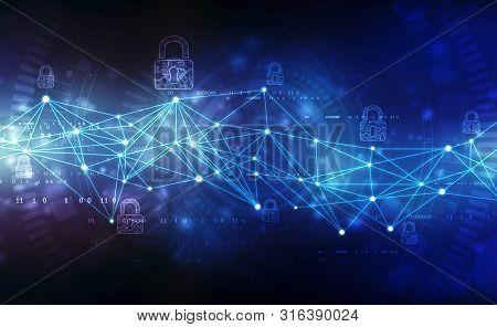 Closed Padlock On Digital Screen, Cyber Security Concept Background,security Concept Background. 2d