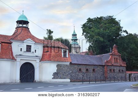 Defence city wall and gate in Niemodlin Poland