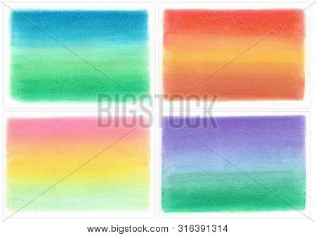 Set Of Abstract Gradient Background Paintings On Textured Canvas Paper