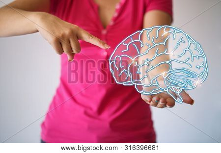Use Brain - Virtual Reality Woman With Symbol Neurons In Brain. Creative Idea. Concept Of Idea And I
