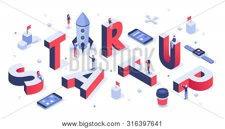 Isometric Startup Lettering. Company Launch, Startups Business Banner And Abstract Creative. Creativ