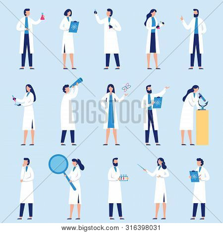 Scientists People. Science Lab Worker, Chemical Researchers And Scientist Professor Character. Labor