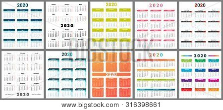 Calendar 2020. Wall Planner Calendars, Week Starts Grid And Year Dates Template. Date Diary, Busines