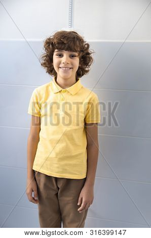 Jolly Child In Clinic Office Stock Photo