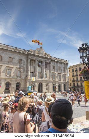 Barcelona, Spain - June 22, 2019: City Hall On Placa De Sant Jaume. The Palau De La Generalitat Is A