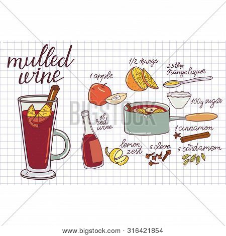 Mulled Wine Ingredients, Recipe With Glass And Ingredients.  Illustration Traditional Hot Drink At C