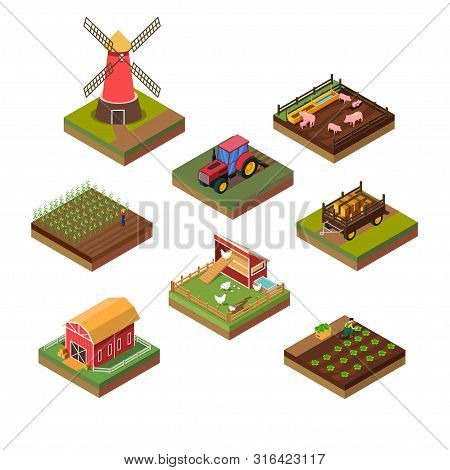 A Vector Illustration Of Isometric Illustration Of Farms Objects