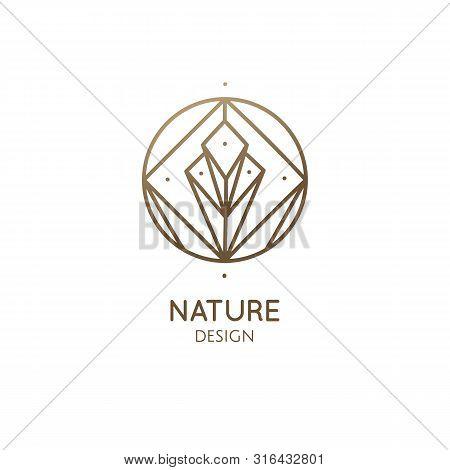 Linear Abstract Logo Diamond. Gemstone Icon Vector, Brilliant Sign, Crystal Geometric Symbol. Beauty